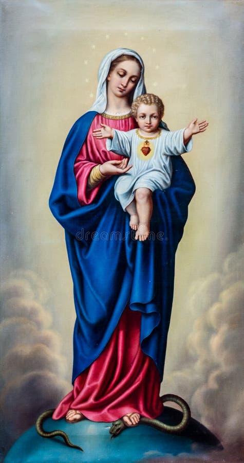 Malerei von gesegnetem Jungfrau Maria mit Baby Jesus stockfoto