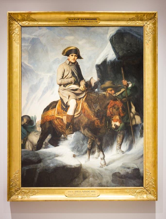 Malerei von Napoleon an der Louvre-Linse, Frankreich lizenzfreie stockfotografie