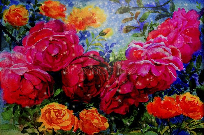 Malereiaquarell blüht die Landschaft, die von den Rosen bunt ist stock abbildung