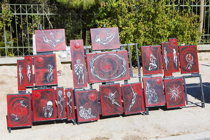Malereien für den Verkauf stockfotos