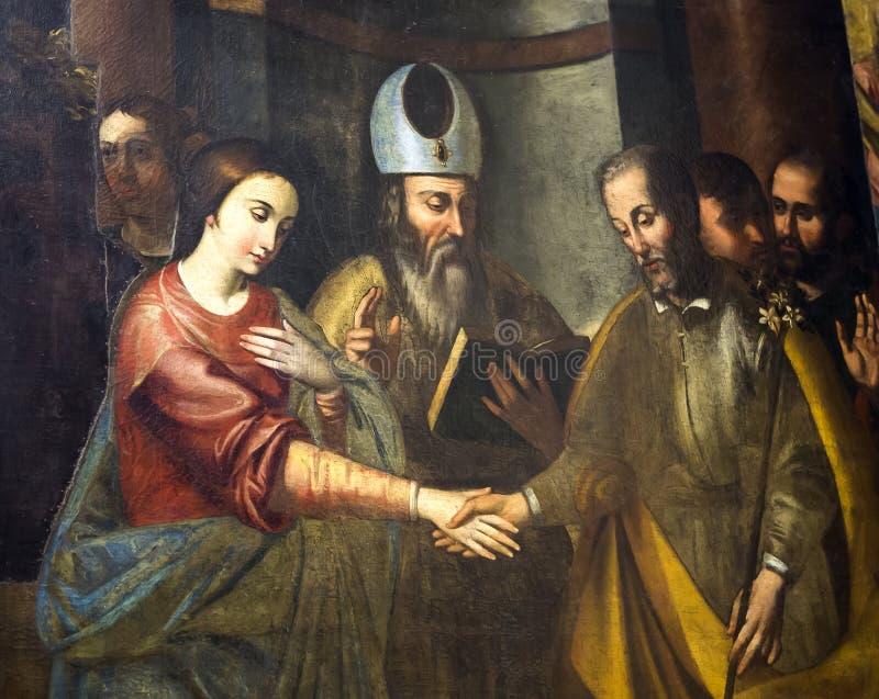 Malereien in Kirche Sans Lorenzo Maggiore, Neapel, Italien lizenzfreie stockfotografie