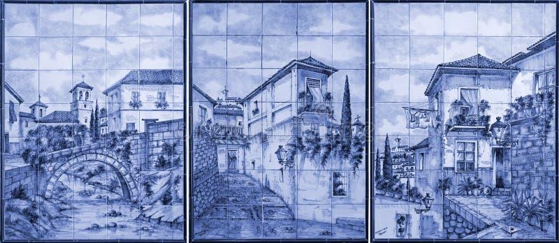 Malereikunst auf den Fliesen, Alhambra, Granada, Spanien lizenzfreie stockbilder