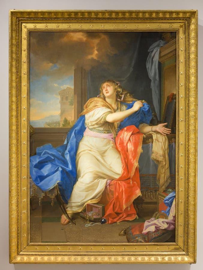 Malereiporträt an der Louvre-Linse, Frankreich stockfotos