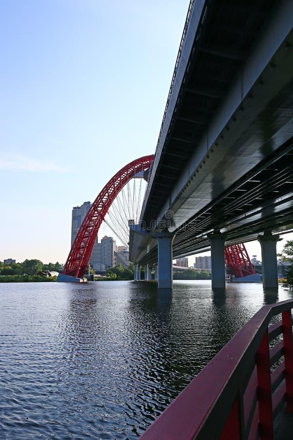 Malerische Brücke der Suspendierung in Moskau lizenzfreies stockbild