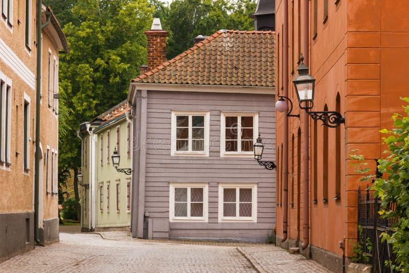 Malerische Ecke. Vadstena. Schweden stockfotos