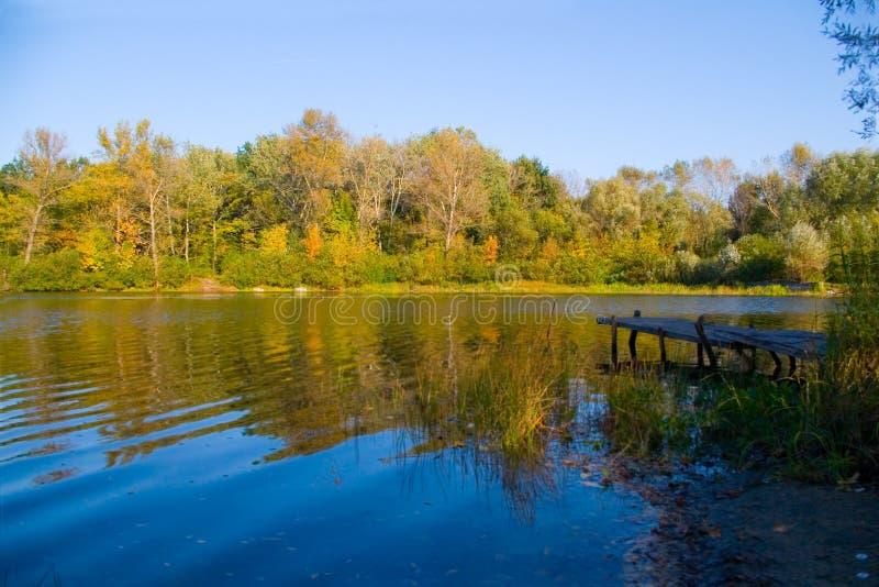 Malerische Herbstlandschaft von Fluss und helle Bäume und Büsche lizenzfreie stockfotografie