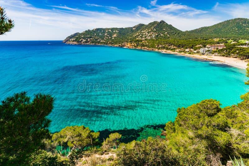 Malerische Küstenlinienansicht von Canyamel-Strand, Mittelmeer Spanien Majorca lizenzfreie stockbilder