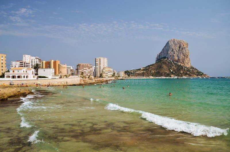 Download Malerische Landschaft Des Sandigen Strandes In Calpe, Spanien Stockbild - Bild von freude, rücksortierung: 96927461