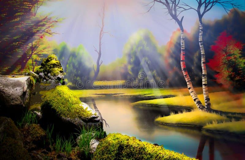 Malerlandschaft lizenzfreie abbildung