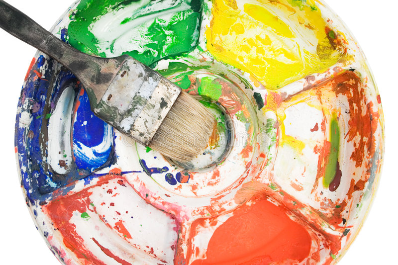 Malerpinsel auf Farben-Palette stockfotos