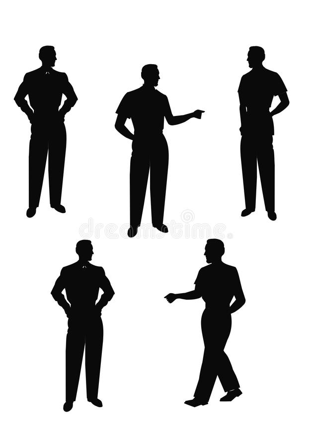 Males in silhouette posing stock illustration