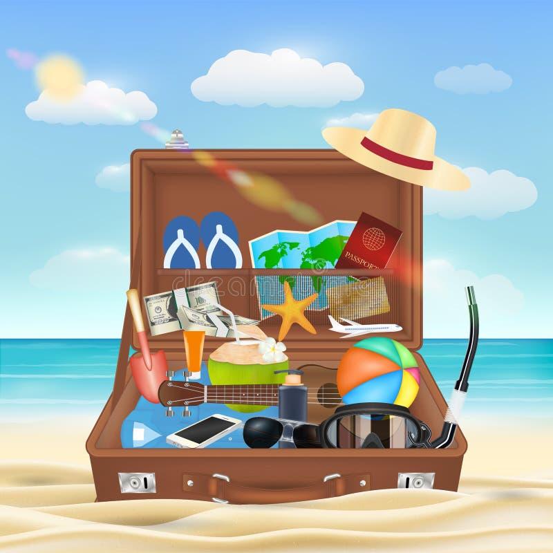 Maleta abierta con el objeto del viaje de la playa en la playa ilustración del vector