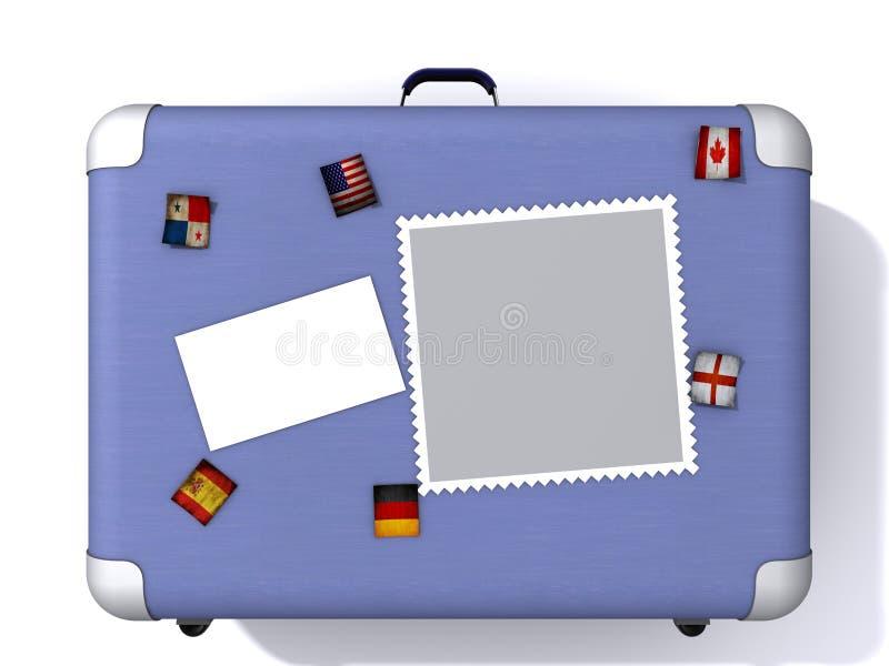 Maleta azul clara cubierta en etiquetas engomadas del viaje stock de ilustración