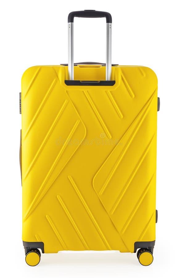 Maleta con el equipaje para el vuelo aislado con la trayectoria de recortes fotografía de archivo libre de regalías