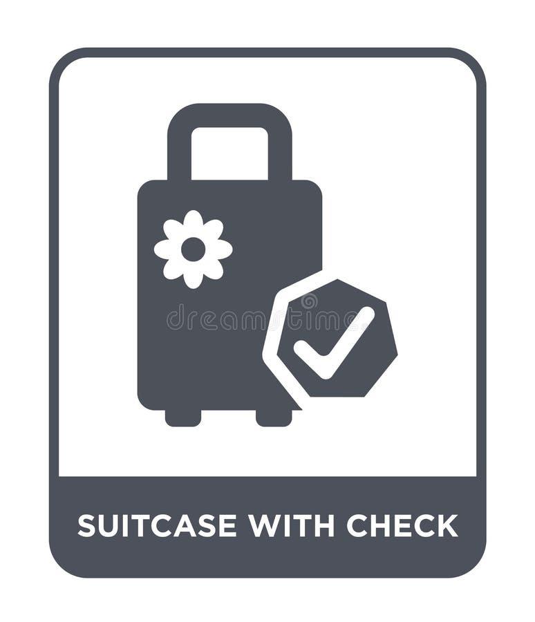 maleta con el icono del control en estilo de moda del diseño maleta con el icono del control aislado en el fondo blanco maleta co stock de ilustración