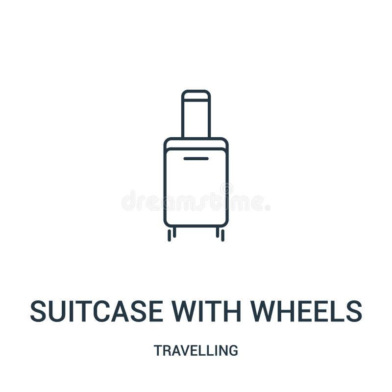 maleta con vector del icono de las ruedas de la colección que viaja Línea fina maleta con el ejemplo del vector del icono del esq ilustración del vector