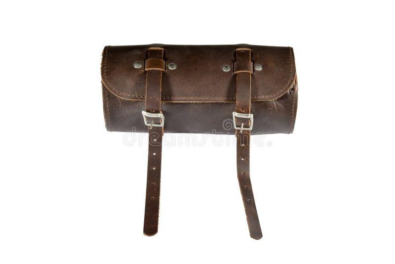 Maleta de ferramentas redonda do couro do vintage com isolado no fundo, no cesto ou na bagagem branca foto de stock royalty free