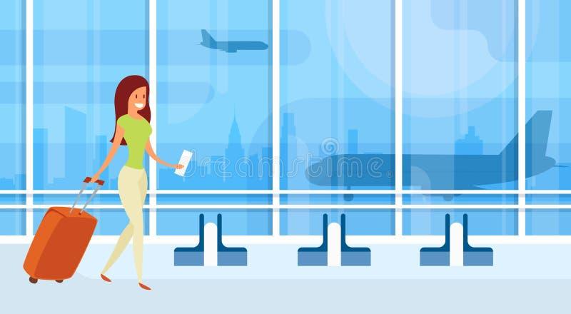 Maleta de Hall Departure Terminal Travel Baggage del aeropuerto de la mujer del viajero, pasajero con equipaje stock de ilustración
