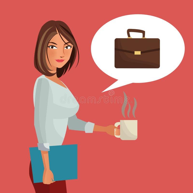 Maleta de la carpeta de la oficina de negocios de la mujer y café de la taza libre illustration