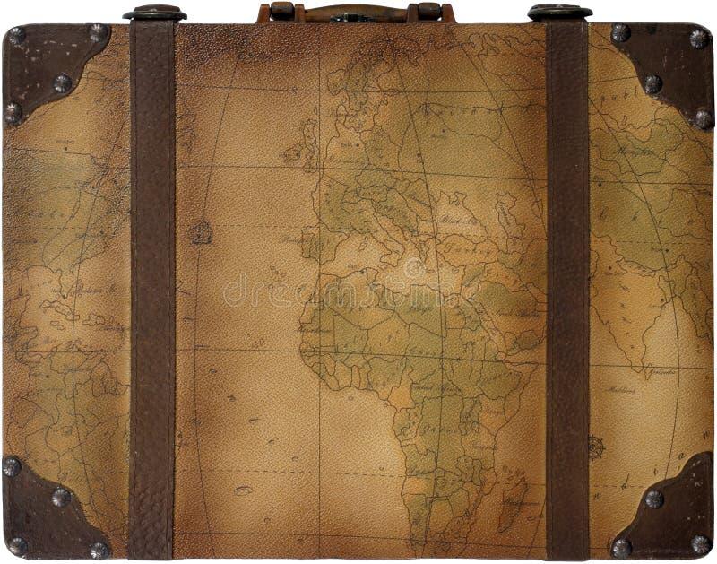 Maleta de las hojas de ruta (traveler) de mundo foto de archivo libre de regalías