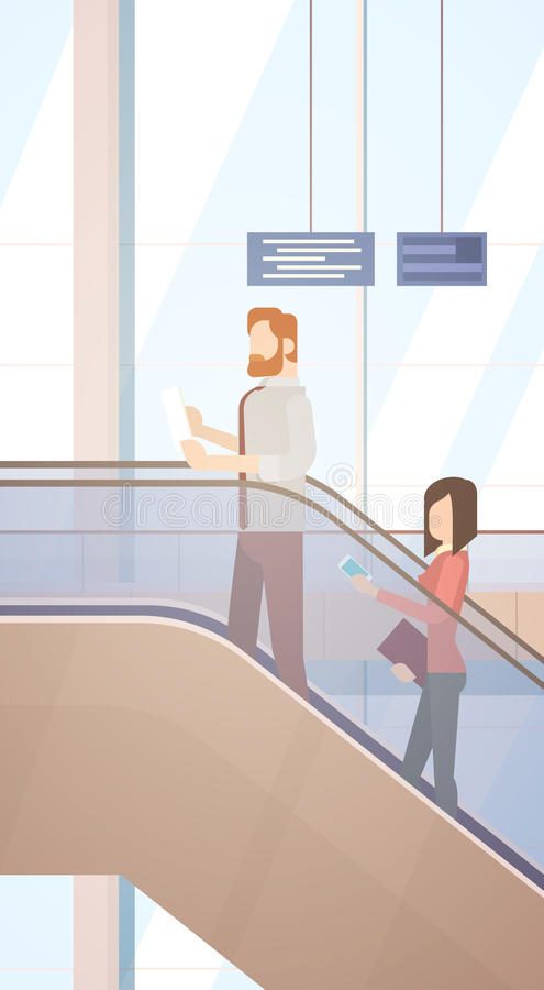 Maleta del bolso de Hall Departure Terminal Travel Baggage del aeropuerto de la gente del viajero, equipaje del incorporar del pa libre illustration
