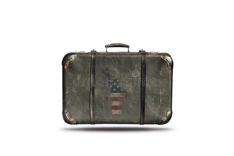 Maleta del cuero del vintage del viaje con la bandera americana en la forma de la estatua de la libertad 4to feliz del Día de la  imágenes de archivo libres de regalías