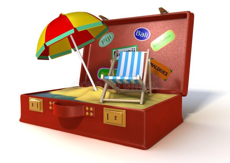 maleta del día de fiesta 3d stock de ilustración