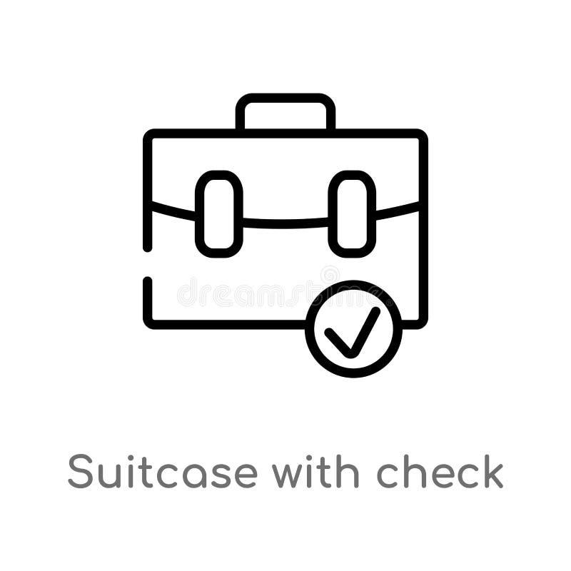 maleta del esquema con el icono del vector del control l?nea simple negra aislada ejemplo del elemento del ?ltimo concepto de los stock de ilustración