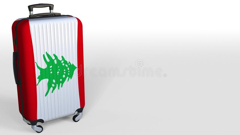 Maleta del ` s del viajero que ofrece la bandera de Líbano Representación conceptual 3D, espacio en blanco del turismo libanés pa ilustración del vector