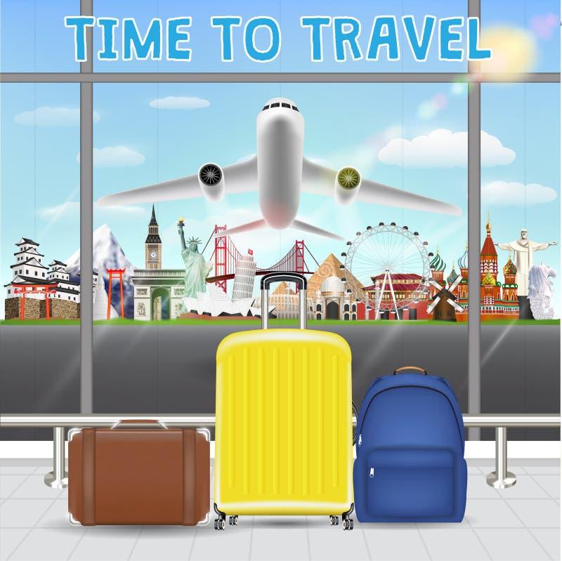 Maleta en aeropuerto con la señal del viaje del aeroplano ilustración del vector