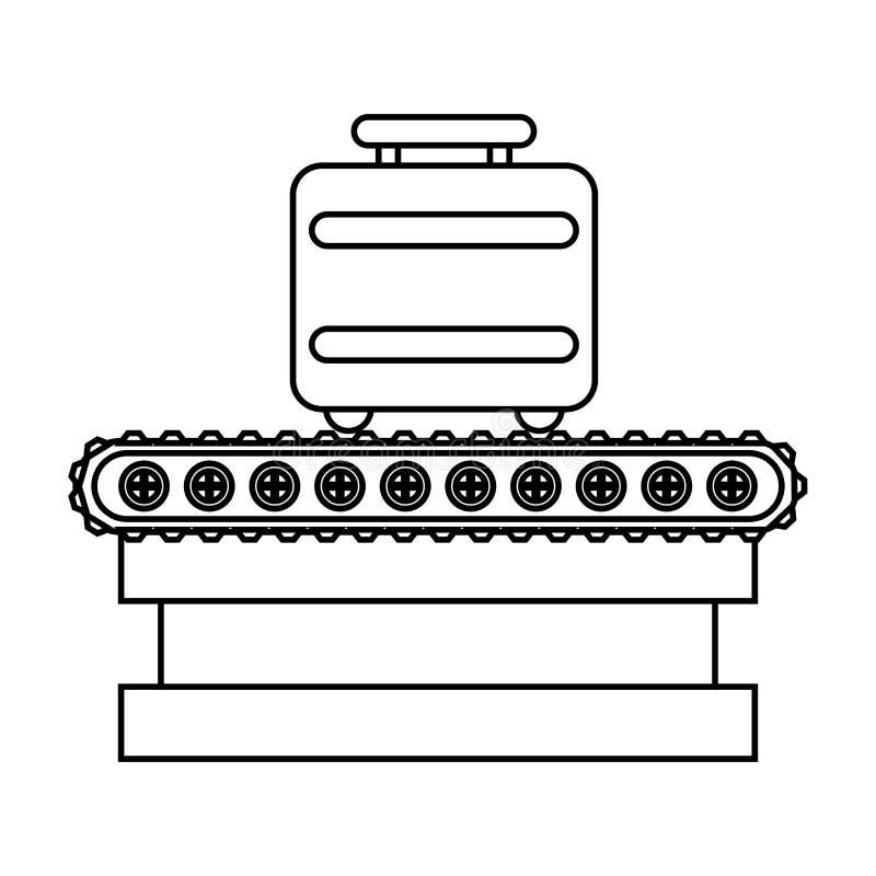 Maleta en icono aislado viaje de la banda del transporte ilustración del vector