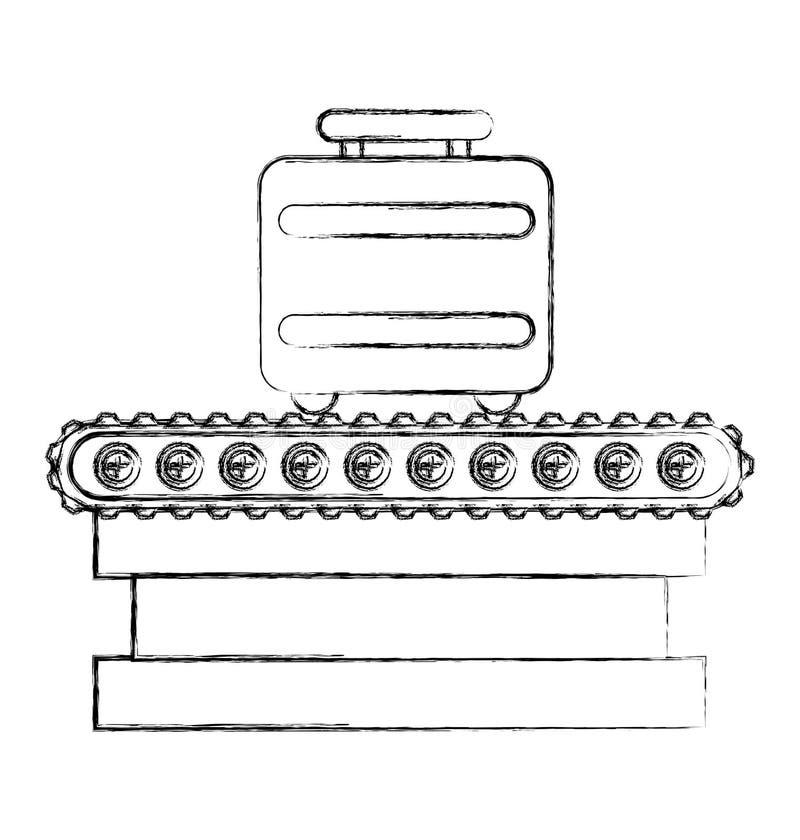 Maleta en icono aislado viaje de la banda del transporte stock de ilustración