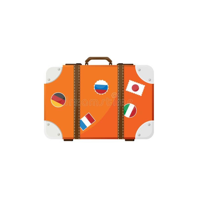 Maleta en un estilo plano Bolso del viaje Carretilla para el turismo equipaje Ilustración del vector libre illustration