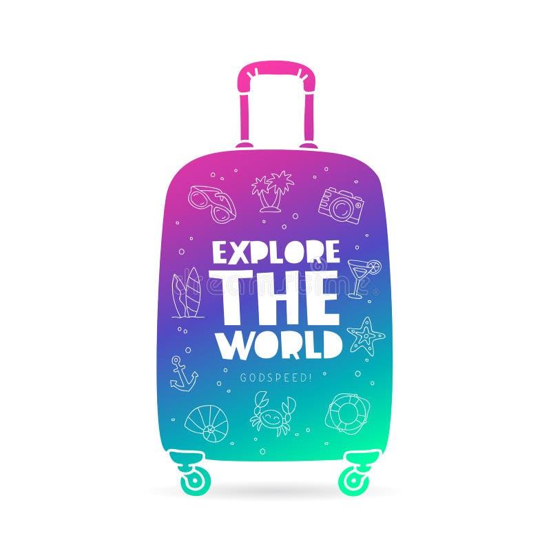 maleta Explore el mundo godspeed stock de ilustración
