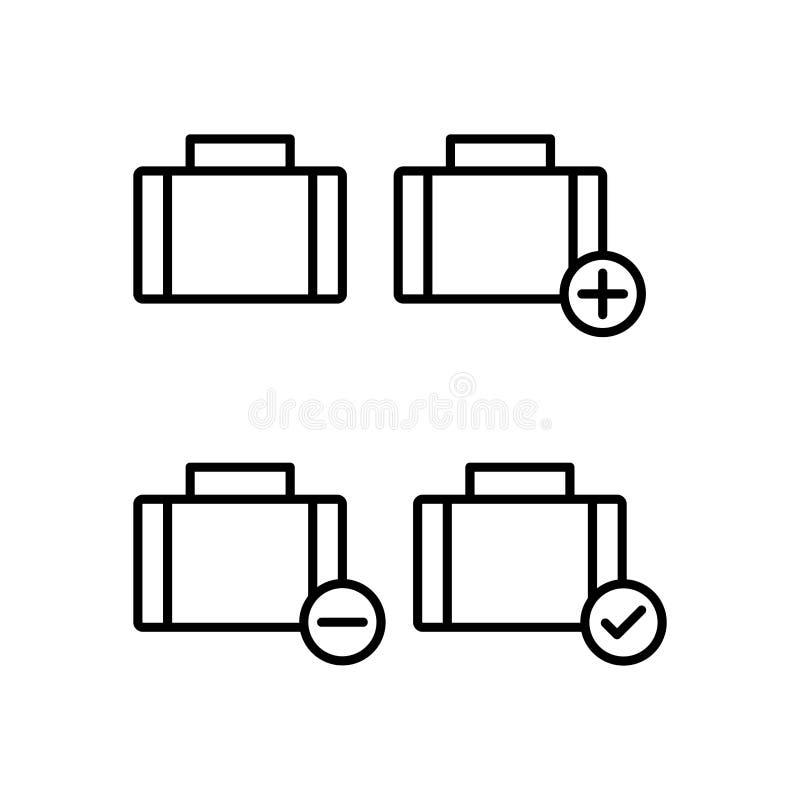 maleta, más, control, iconos del signo de menos Elemento de los iconos del botón del esquema Línea fina icono para el diseño y el libre illustration