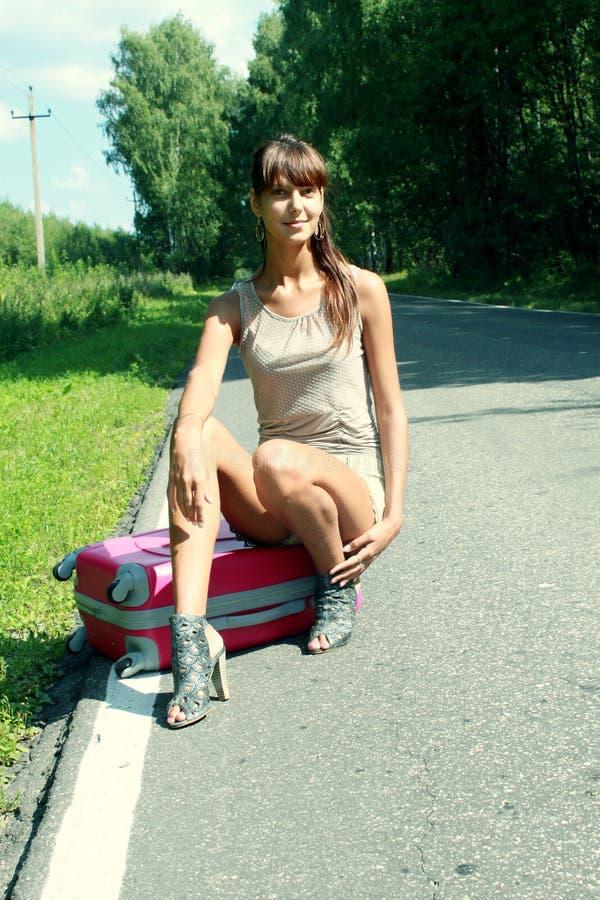 Maleta rosada en viajes fotos de archivo