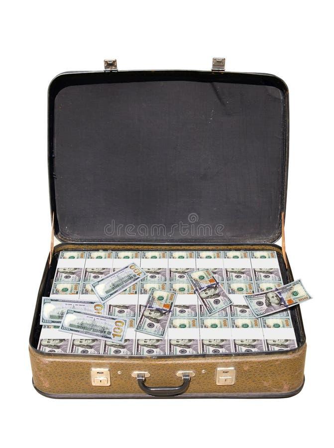 Maleta vieja por completo de dinero imagen de archivo