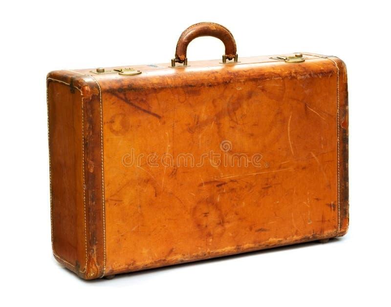 Maleta Well-Traveled de la vendimia imagen de archivo libre de regalías