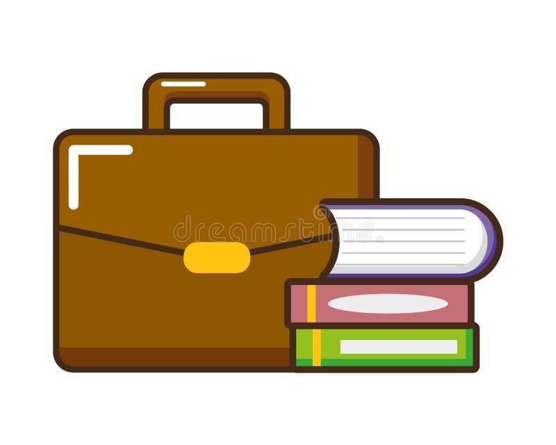 Maleta y libros apilados ilustración del vector