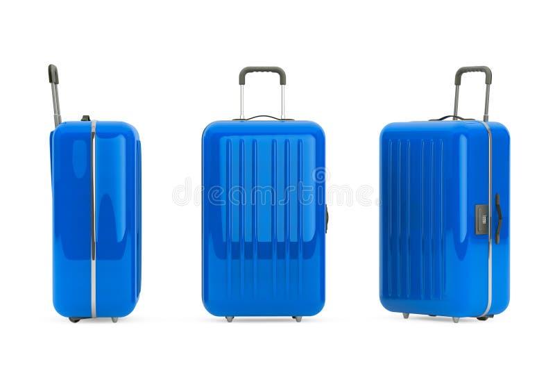 Maletas azules grandes del policarbonato imagen de archivo