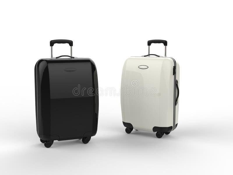 Maletas blancas y negras del equipaje fotos de archivo