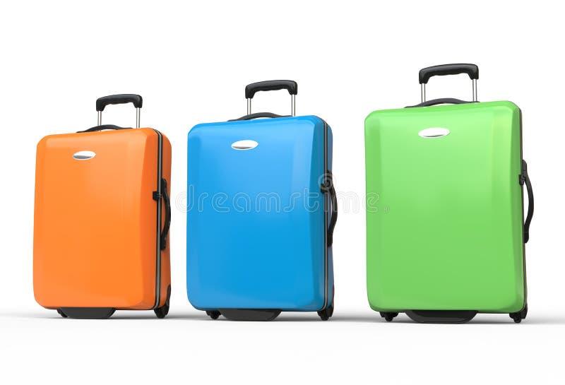 Maletas brillantemente coloreadas del equipaje del viaje del policarbonato imagen de archivo libre de regalías