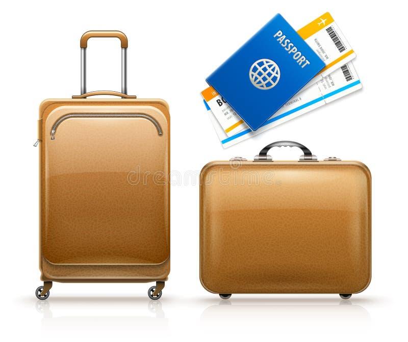 Maletas de cuero retras, documento de embarque del pasaporte del viaje Ilustraci?n del vector stock de ilustración