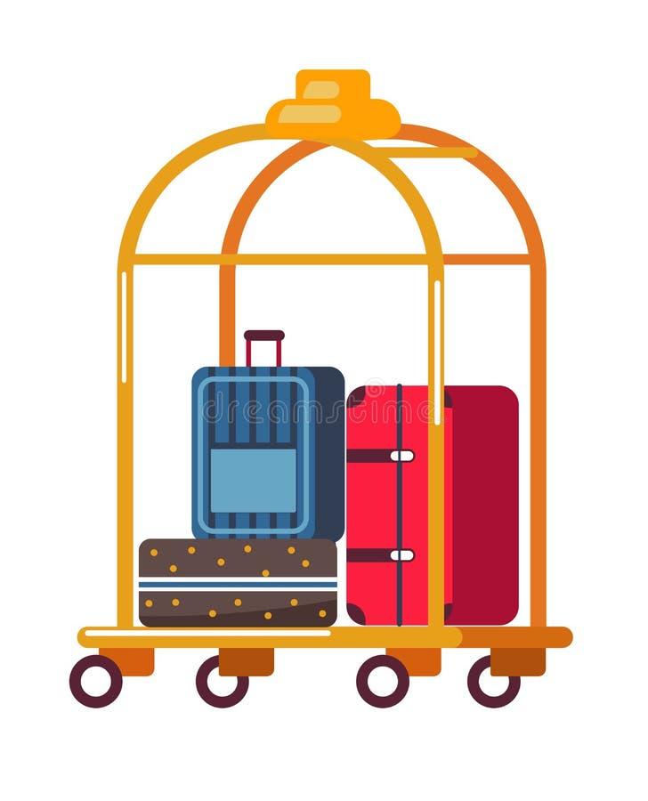 Maletas del equipaje o del equipaje en hotel de oro del carro stock de ilustración