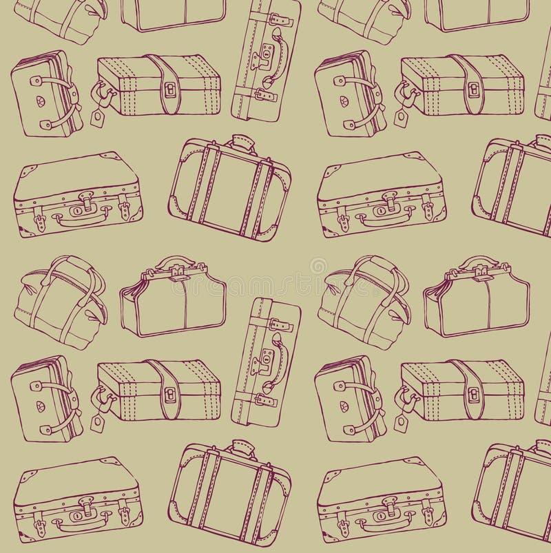 Maletas del recorrido inconsútiles ilustración del vector