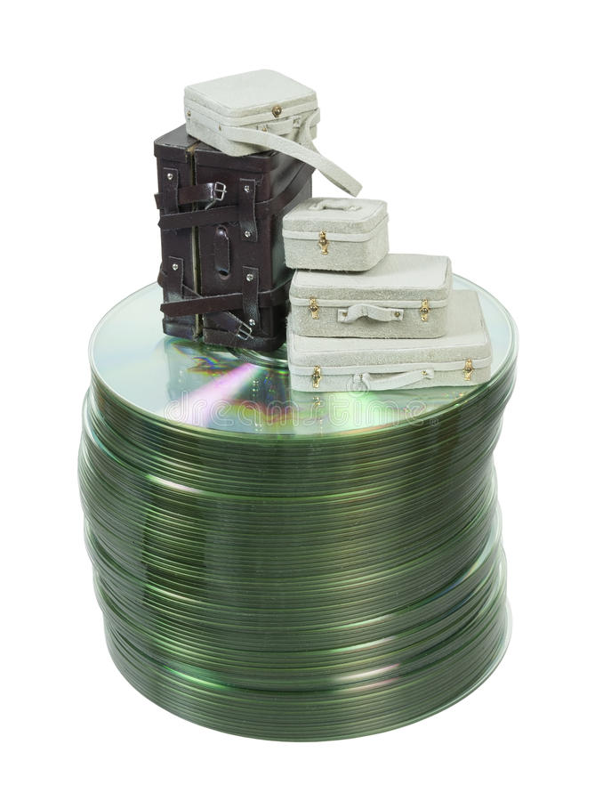 Maletas En Una Pila De Discos Imagenes de archivo