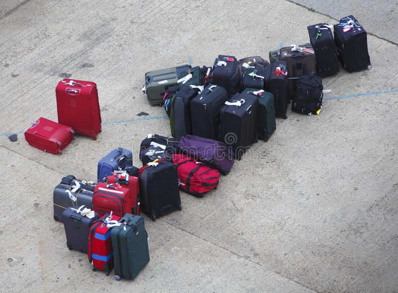 Maletas perdidas del equipaje imágenes de archivo libres de regalías