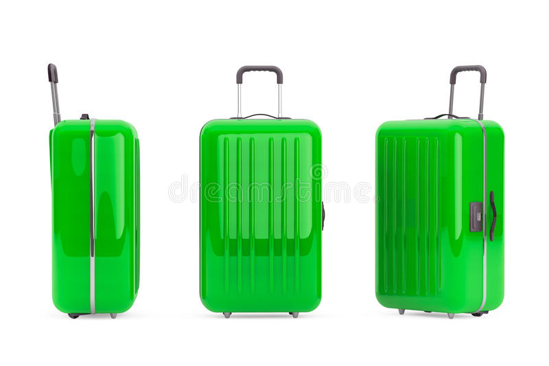 Maletas verdes grandes del policarbonato imagen de archivo
