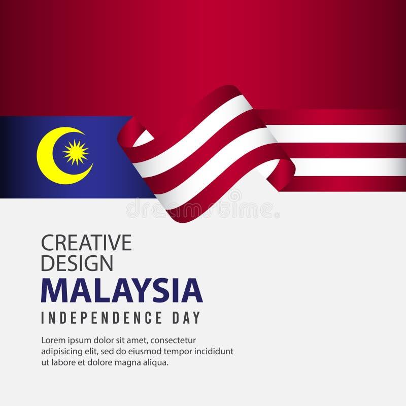 Malezja dnia niepodległości świętowania Kreatywnie projekta Ilustracyjny Wektorowy szablon ilustracja wektor