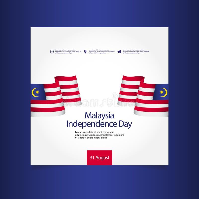 Malezja dnia niepodległości świętowania szablonu projekta Wektorowa ilustracja ilustracji